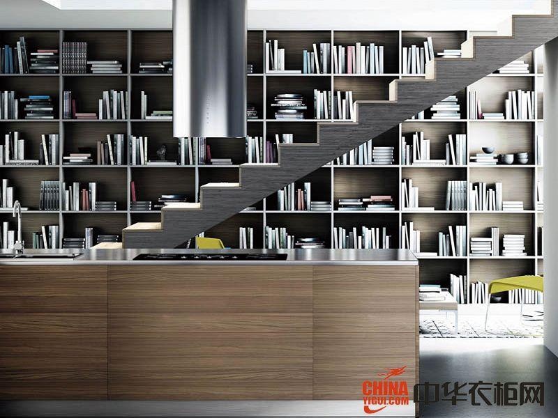 柜品爱衣柜楼梯书柜装饰效果图现代简约高清图片