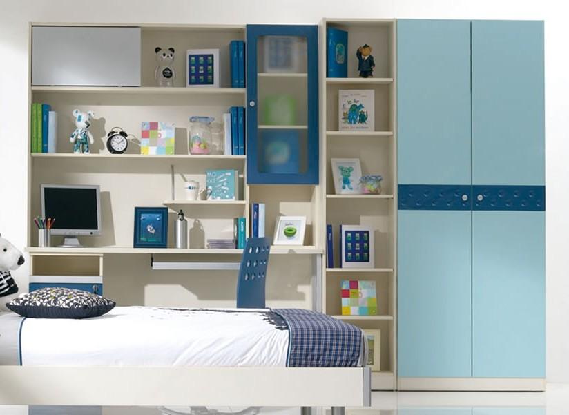 儿童卧室衣柜效果图大全,蓝色相间的套房色调,承载了孩子在童年时期