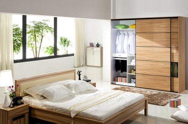 欧洲白木纹衣柜设计图 时尚婚房卧室装修图