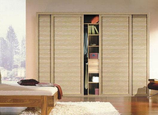 同色木纹卧室家具搭配 移门衣柜效果图