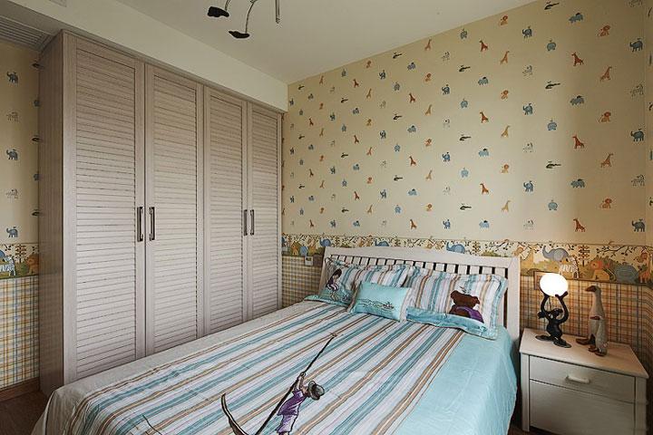 90平米新婚家居装修 清爽儿童房衣柜设计图片
