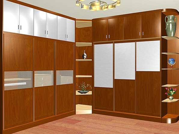 三门推拉衣柜设计图 复古色调更显优雅