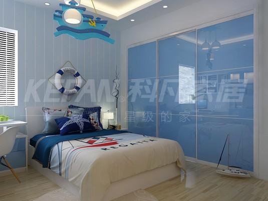 浅蓝色系卧室装修图 简洁精致衣柜设计图