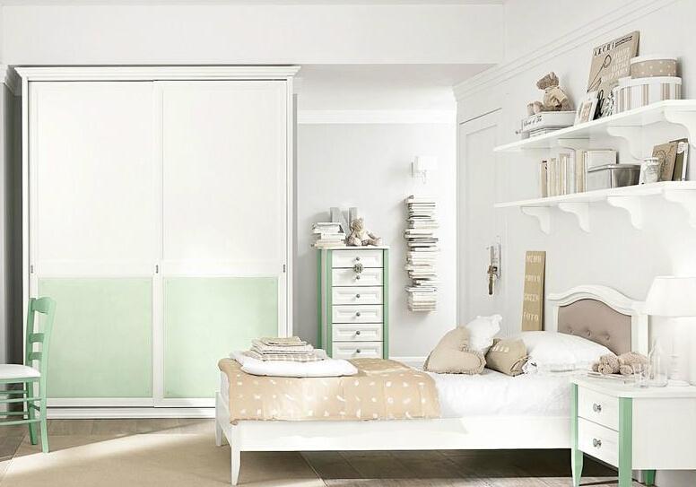 简约欧式样板房设计 清新卧室衣柜效果图