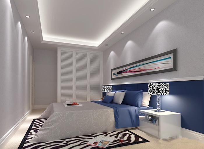 唯美色调卧室设计 现代三门衣柜设计图