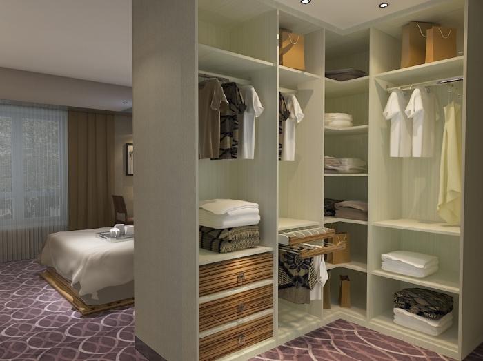 空间发挥收纳作用 开放式l型衣柜设计图