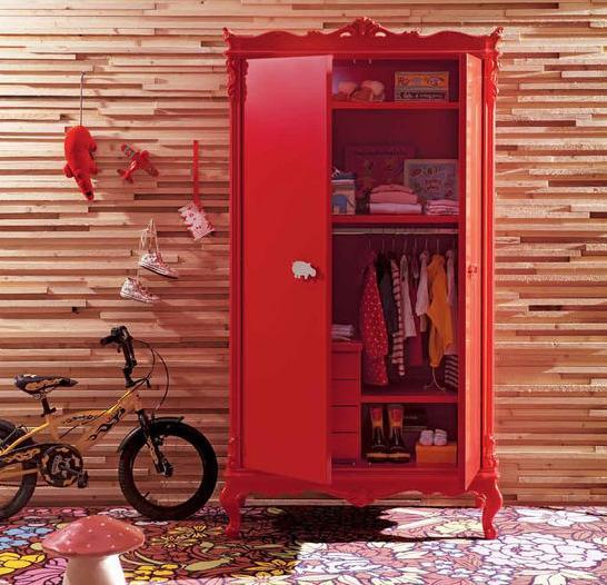 红色衣柜双开门图片