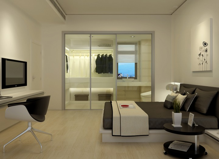 卧室 透露玻璃移门衣柜效果图